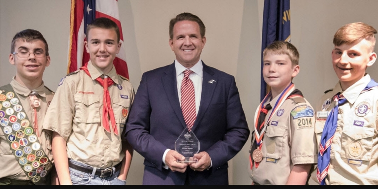 Dr. Benson with boy scouts